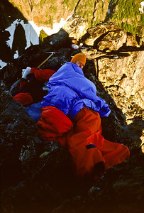 Early morning at the bivouac on the summit.
