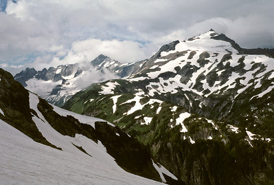 Looking back down Cache Glacier at Sahale Arm and Boston Basin.