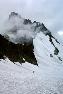 Nicolai making his way up the Cache Glacier.