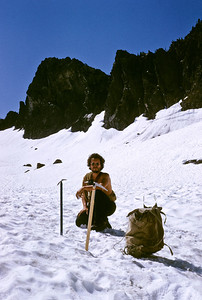 Heading up towards Pineapple Pass. Bill Nicolai posses on the snowfield. Note Bill's well used Millet rucksack