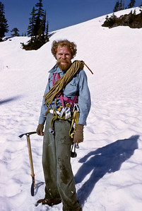 Wearing my coiled MSR goldline rope, SMC ovals and Great Pacific Hardware nuts. Climbing gear circa 1974. Note the Millar mitts and Italian Camp Interalp ice axe with hickory shaft.