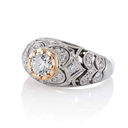 0.94ctw Vintage Old European Cut Diamond Dome Ring