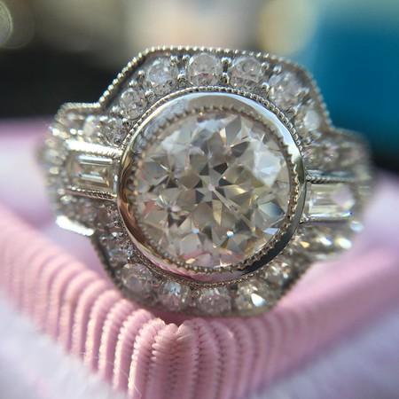 1.07ct Old European Cut Diamond Halo Ring, AGS I SI1
