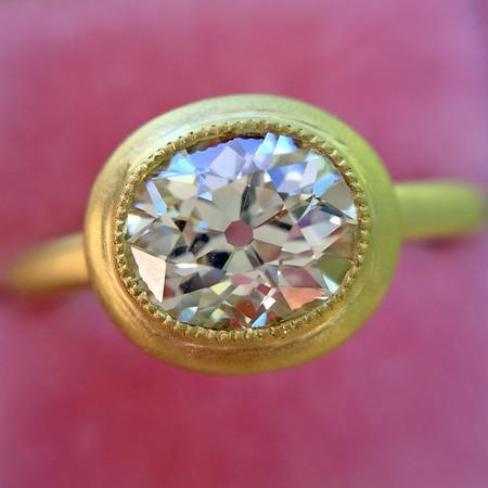 1.15ct Antique Oval Cut Diamond Chunky Bezel Ring