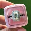 1.85ctw Emerald Cut Diamond Halo Ring 4