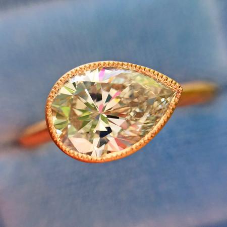 1.26ct Pear Shape Diamond in Rose Gold Bezel Ring, GIA I, VS1