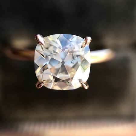 1.28ct Antique Cushion Cut Rose Gold Solitaire GIA K SI2