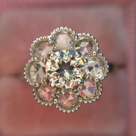 1.29ctw Old European Cut and Rose Cut Diamond Halo Ring