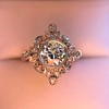 1.32ctw Old European Cut Diamond Floral Halo Ring 12