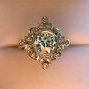 1.32ctw Old European Cut Diamond Floral Halo Ring 8