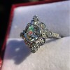 1.32ctw Old European Cut Diamond Floral Halo Ring 38