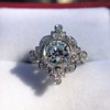 1.32ctw Old European Cut Diamond Floral Halo Ring 36