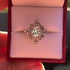 1.32ctw Old European Cut Diamond Floral Halo Ring