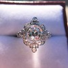 1.32ctw Old European Cut Diamond Floral Halo Ring 16