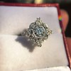 1.32ctw Old European Cut Diamond Floral Halo Ring 37