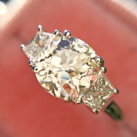 1.42ct Antique Cushon Cut Diamond 3-Stone Ring