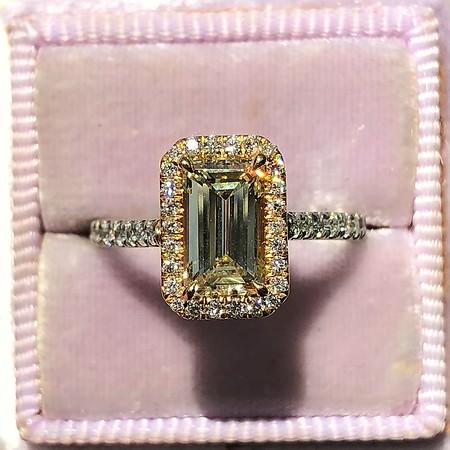 1.47ctw Fancy Yellow Emerald Cut Diamond Halo Ring
