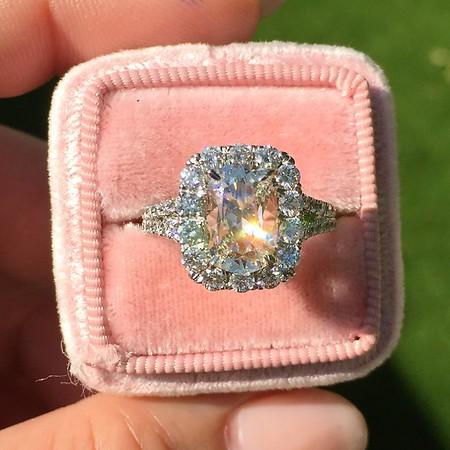 1.51ct Daussi Cushion Cut Diamond Halo Ring, GIA J SI2