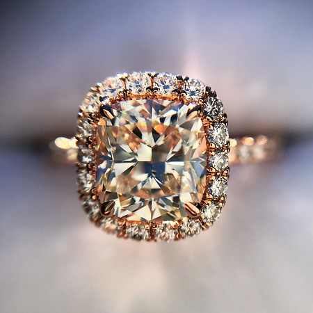 1.52ct Cushion Cut Diamond Halo Ring GIA K VS2