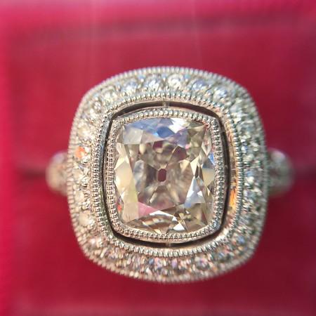 1.57ct Antique Cushion Cut Diamond Halo Ring, GIA J SI1
