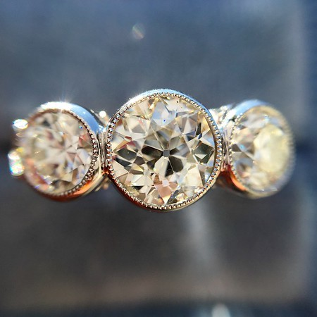 1.80ctw Old European Cut Diamond 3-Stone Ring