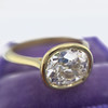 1.82ct Antique Cushion Cut Diamond Bezel Ring AGS I SI1 5