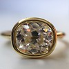 1.82ct Antique Cushion Cut Diamond Bezel Ring AGS I SI1 19