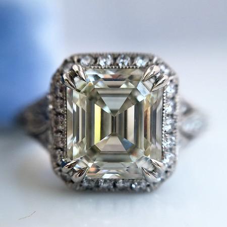 2.08ct Emerald Cut Diamond Halo Ring GIA K IF