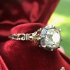 2.11ct Antique Cushion Cut Diamond Georgian Style Ring GIA OP 4