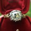 2.11ct Antique Cushion Cut Diamond Georgian Style Ring GIA OP 6