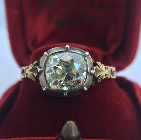 2.11ct Antique Cushion Cut Diamond Ring GIA OP