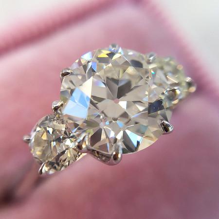 2.16ct Old European Cut Diamond Trilogy Ring, GIA H VVS2, Steven Kirsch Setting