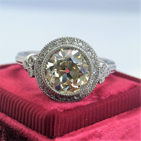 2.20ct Old European Cut Diamond Halo Ring AGS N VS1