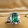 2.57ct Colombian Emerald Halo Ring, AGL-certified 9