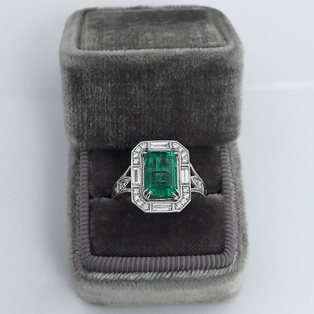 2.57ct Colombian Emerald Halo Ring, AGL-certified