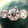 2.90ctw Old European Cut Diamond Trilogy Ring by Single Stone 12