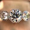 2.90ctw Old European Cut Diamond Trilogy Ring by Single Stone 16