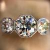 2.90ctw Old European Cut Diamond Trilogy Ring by Single Stone 14