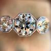 2.90ctw Old European Cut Diamond Trilogy Ring by Single Stone 13