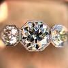 2.90ctw Old European Cut Diamond Trilogy Ring by Single Stone 23