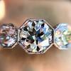 2.90ctw Old European Cut Diamond Trilogy Ring by Single Stone 15