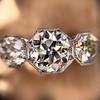 2.90ctw Old European Cut Diamond Trilogy Ring by Single Stone 6