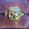 3.24ct Antique Cushion Cut Diamond Halo Ring 6