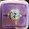 3.24ct Antique Cushion Cut Diamond Halo Ring 14