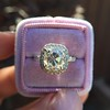 3.24ct Antique Cushion Cut Diamond Halo Ring 27