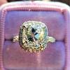3.24ct Antique Cushion Cut Diamond Halo Ring 9