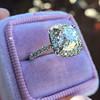 3.24ct Antique Cushion Cut Diamond Halo Ring 16