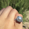 3.24ct Antique Cushion Cut Diamond Halo Ring 29