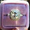 3.24ct Antique Cushion Cut Diamond Halo Ring 25