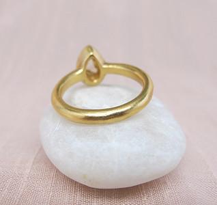 .35ct (est) Green-Gray Pear Rose Cut Diamond Chunky Bezel Ring